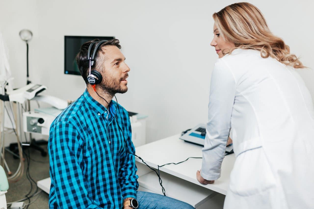 Man getting a hearing test.